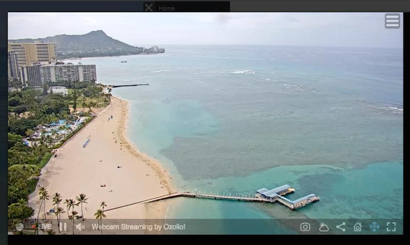 ハワイのヒルトンのライブカメラ
