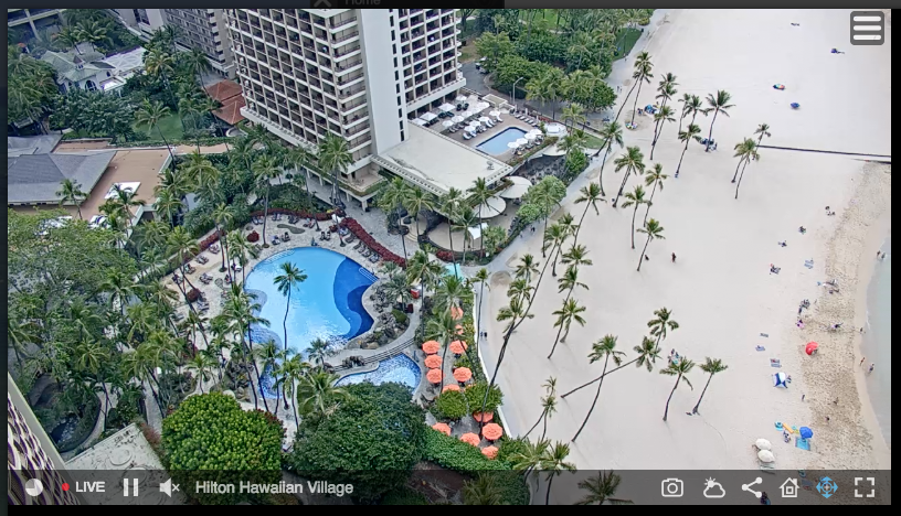 ハワイのヒルトンのライブカメラでプールを見る事も