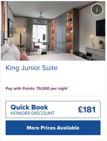 ロンドンのヒルトンに泊まるために必要なHオナーズ ホテルポイント