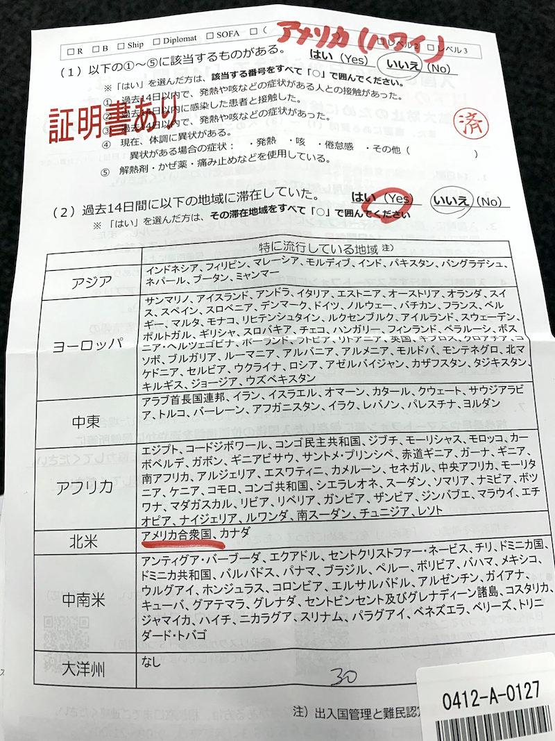 成田空港で日本帰国時の書類チェック