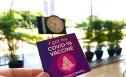 クィーンズ病院オリジナルのコロナワクチンを接種したよというシール