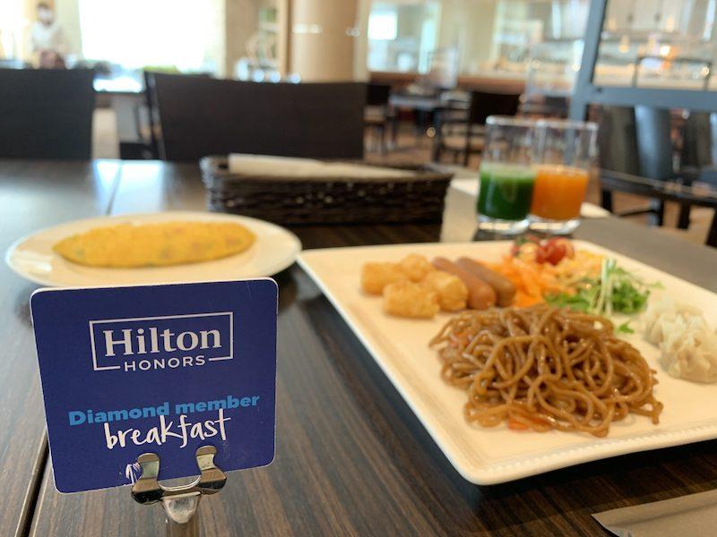ヒルトンオナーズゴールド会員で朝食が無料に