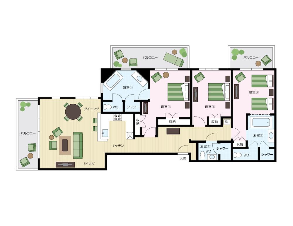 ワイキキアンのペントハウス、レイアウト01号室と02号室の間取り図