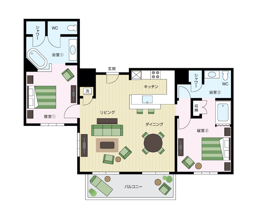 ワイキキアンのペントハウス、レイアウト05号室と06号室の間取り図