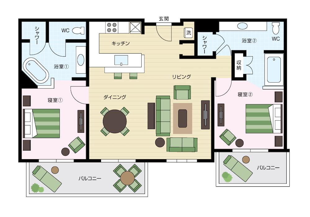 ワイキキアンのペントハウス、レイアウト07号室と10号室の間取り図
