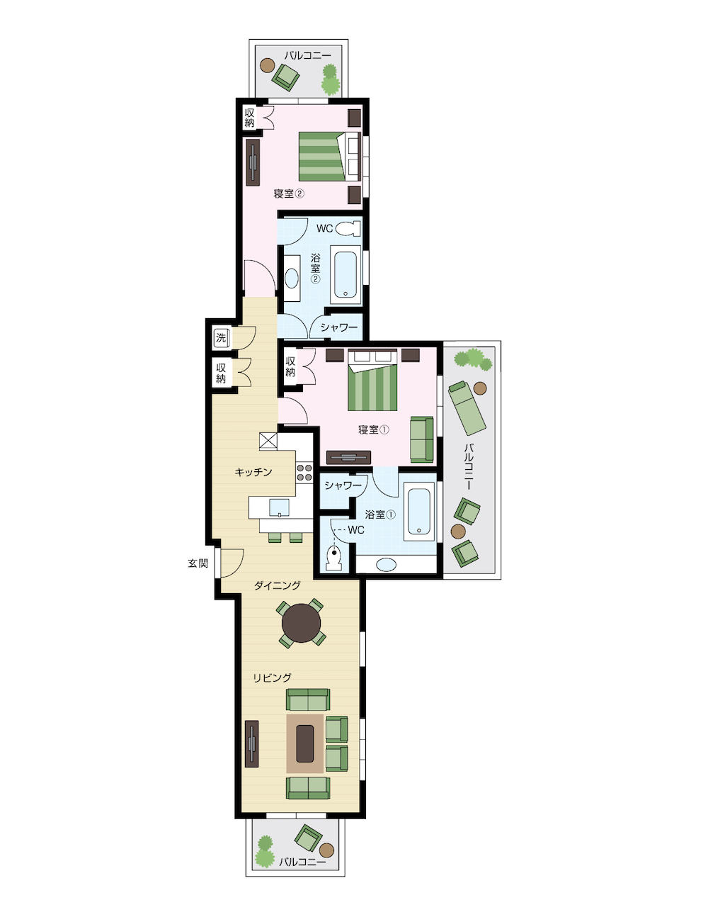 ワイキキアンのペントハウス、レイアウト 11号室の間取り図