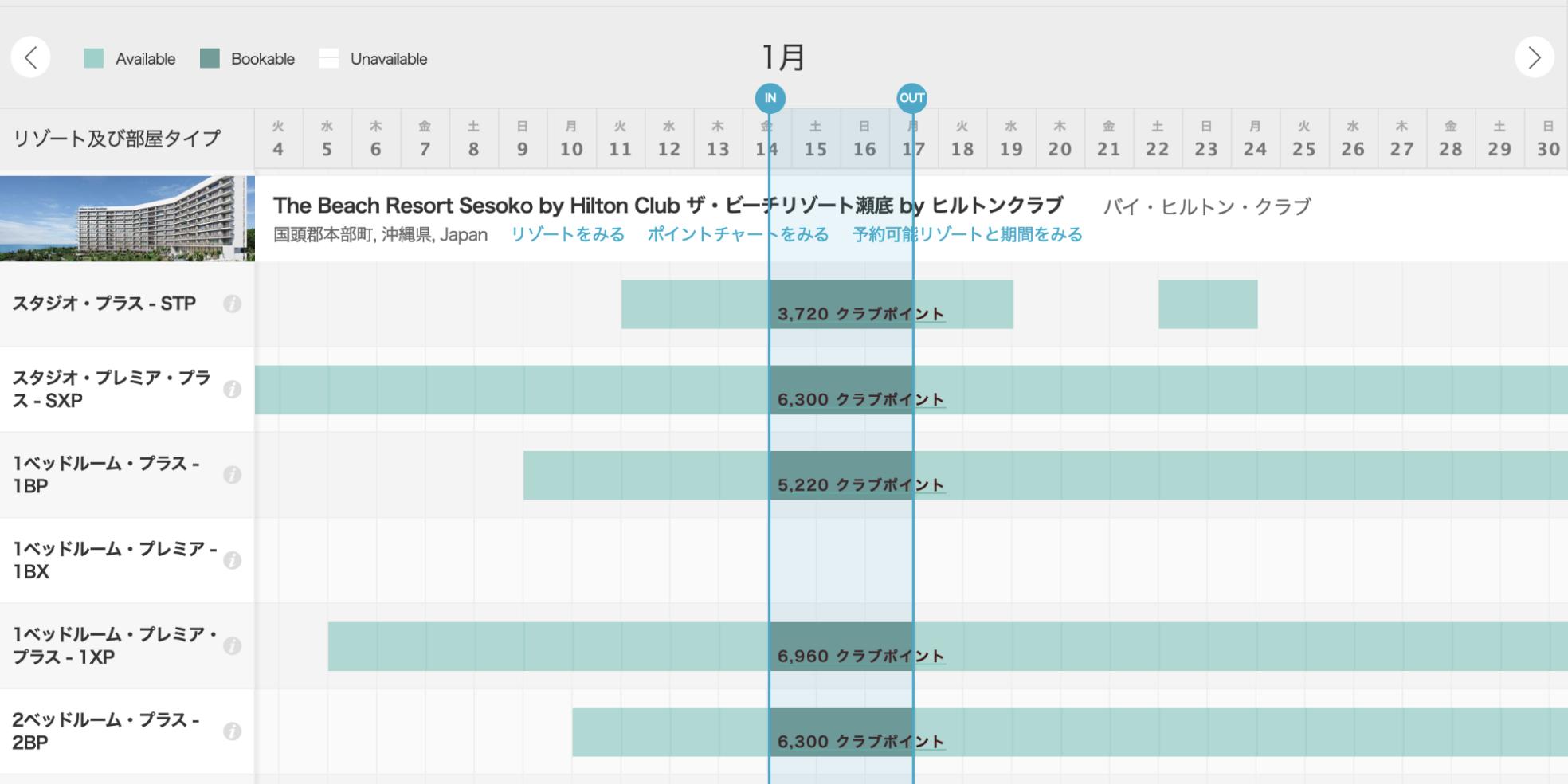 日本のヒルトンのクラブ予約の空室状況