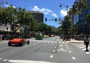 ハワイ、ホクラニ タイムシェア前、カラカウア通り、